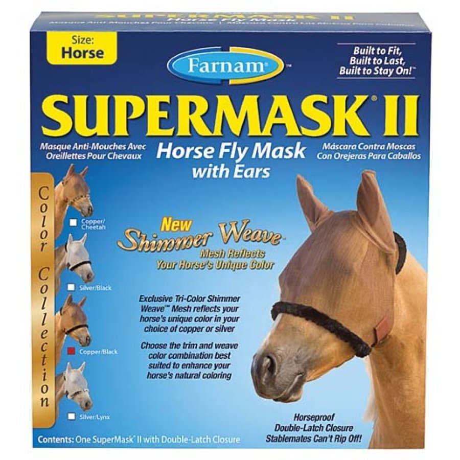 Supermask 2 Fly Mask / Size (Horse w/Ears Copper/Black) Best Price