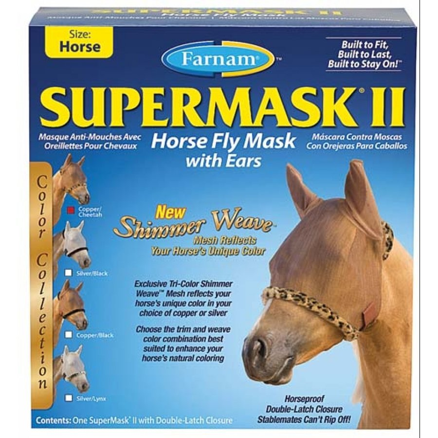 Supermask 2 Fly Mask / Size (Horse w/Ears Black/Cheetah) Best Price