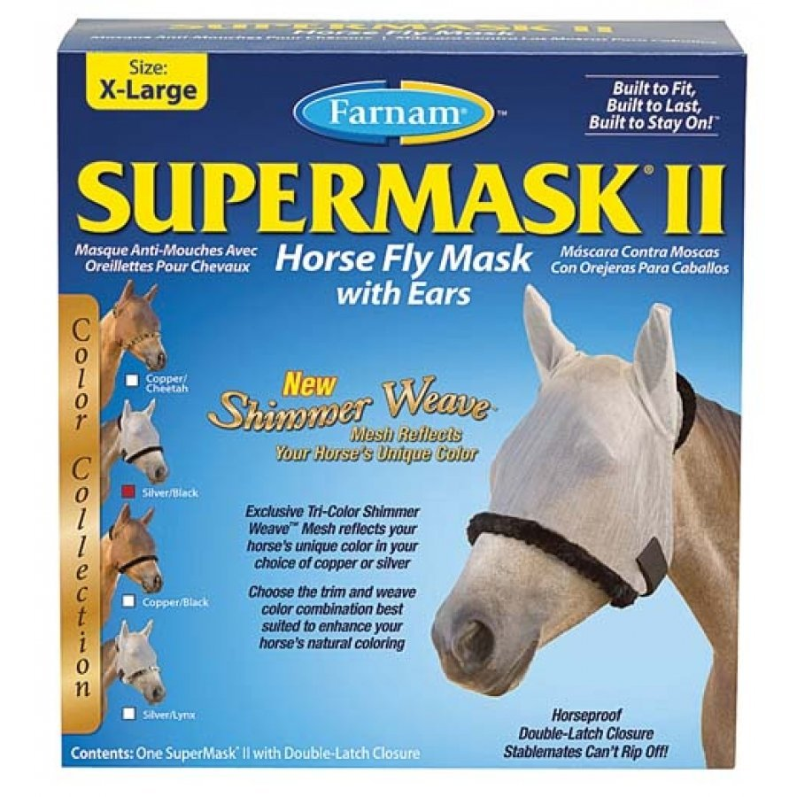 Supermask 2 Fly Mask / Size (XL Horse w/Ears Silver/Black) Best Price