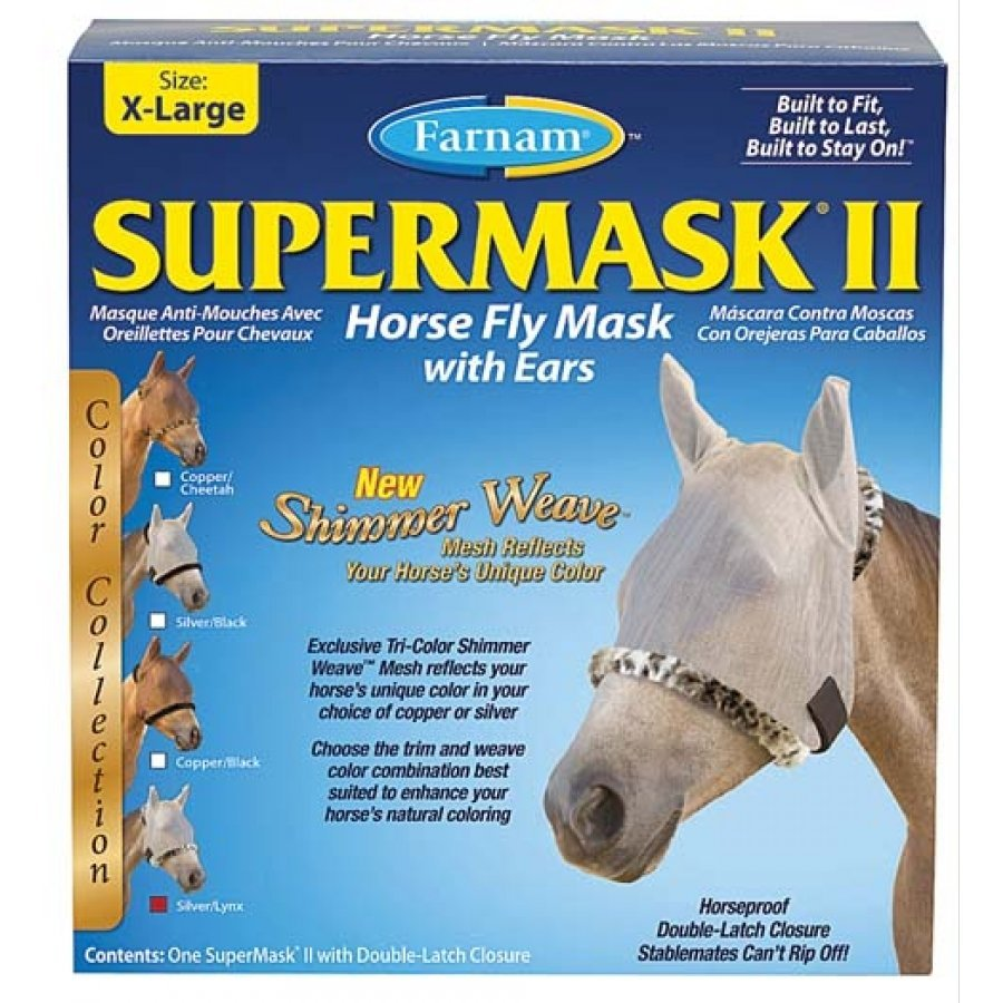Supermask 2 Fly Mask / Size (XL Horse w/Ears Silver/Lynx) Best Price