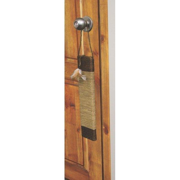 Cat Door Scratcher With Feathers