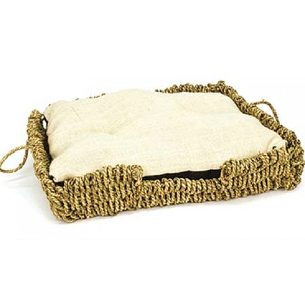 Seagrass and Burlap Square Cat Bed - 16.5 X 12 X 4.5 Best Price