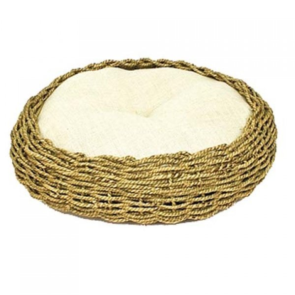 Seagrass and Burlap Round Cat Bed - 16 X 16 X 5.5 Best Price