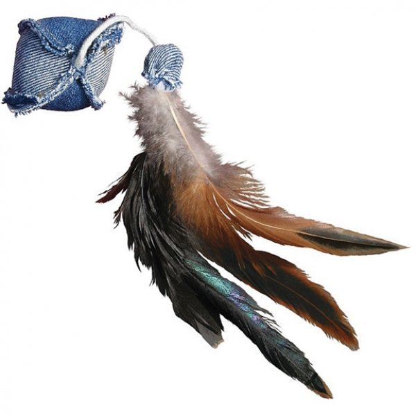 Denim Cat Toy / Type (Ball with Feathers) Best Price