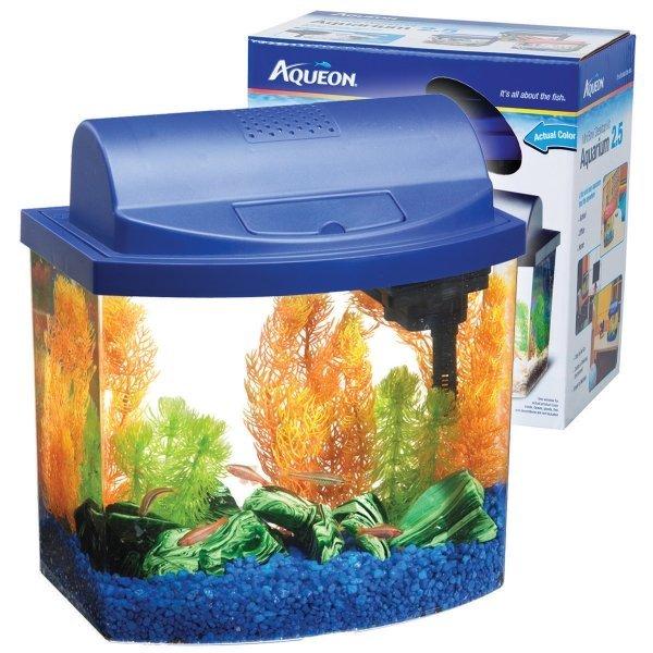 Aqueon Mini Bow Desktop / Size 2.5 Gal / Blue