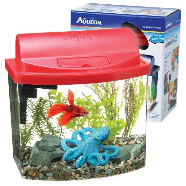 Aqueon Mini Bow Desktop / Size 2.5 Gal / Red