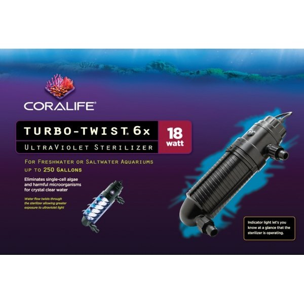Coralife Turbo Twist Ultraviolet Sterilizer 6x/18 Watt