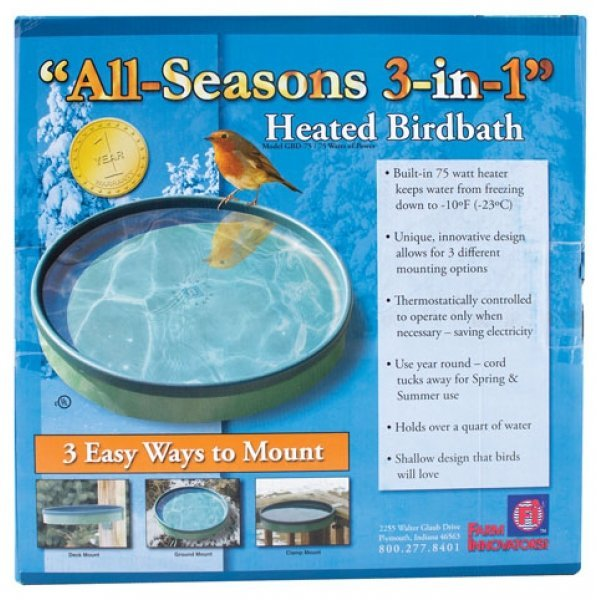 All Seasons 3-in-1 Heated Birdbath - Green