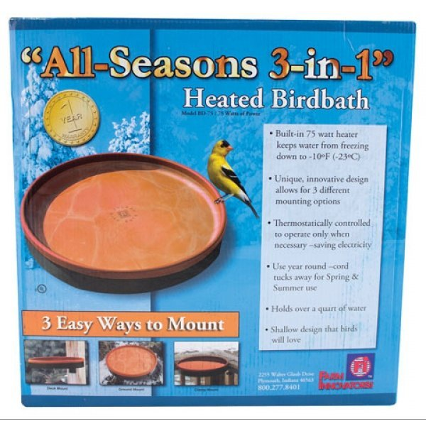 All Seasons 3-in-1 Heated Birdbath - Terra Cotta Best Price