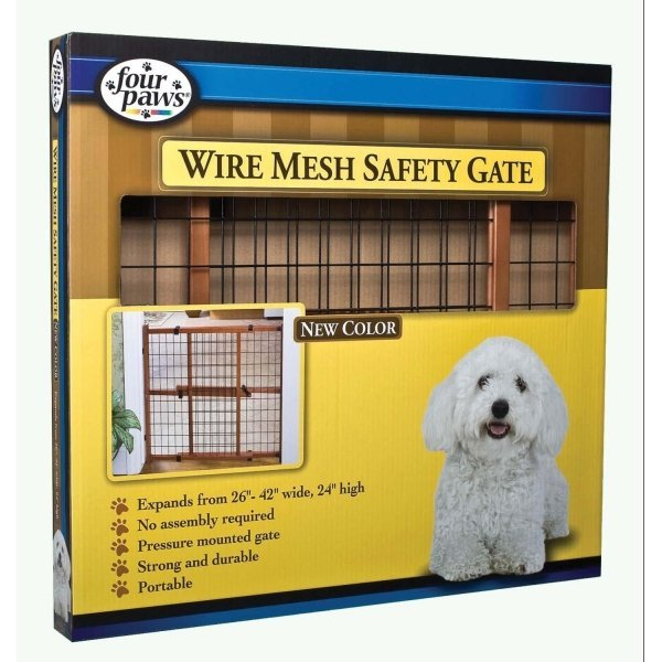 Dark Wood Wire Mesh Expandable Pet Gate / Height (24 in.) Best Price