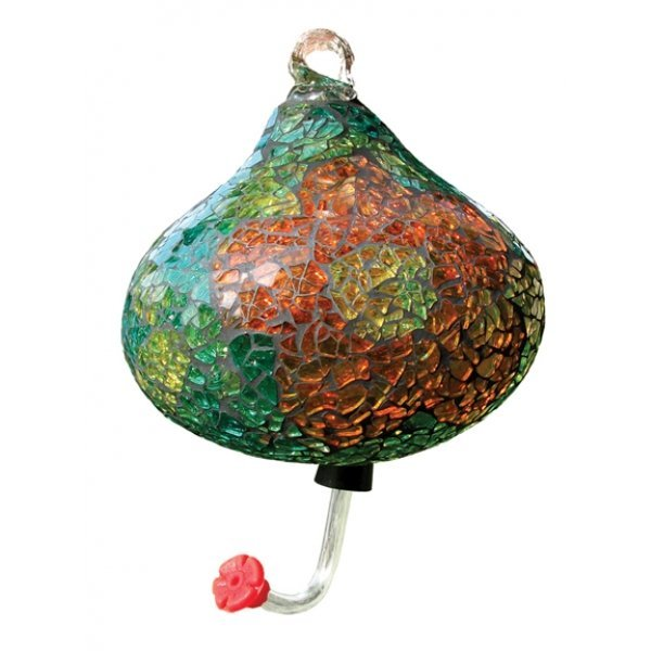 Teardrop Mosaic Glass Hummingbird Feeder - Green Best Price