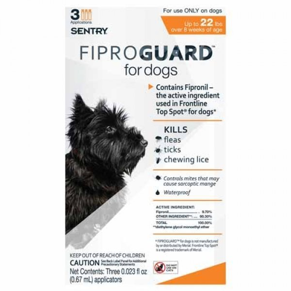 Fiproguard Squeeze On For Dogs / Size 22 Lbs.