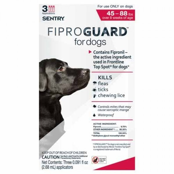 Fiproguard Squeeze On For Dogs / Size 45 88 Lbs.