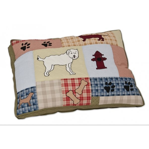 Applique Quilted Gusseted Pet Pillow Bed Buddy / 27 X 36 In.
