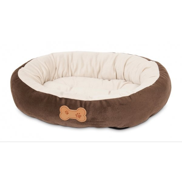 Round Bolster Pet Bed With Bone Applique 20x16 in. Best Price