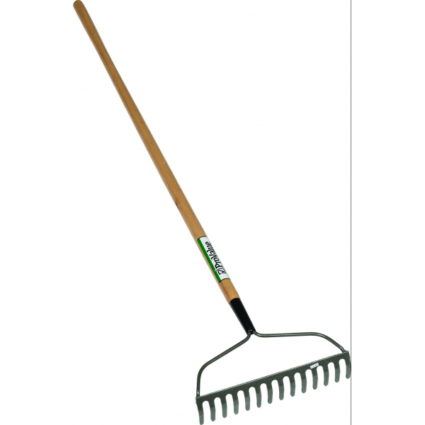 14 tine welded head bow rake wood handle steel  wood garden