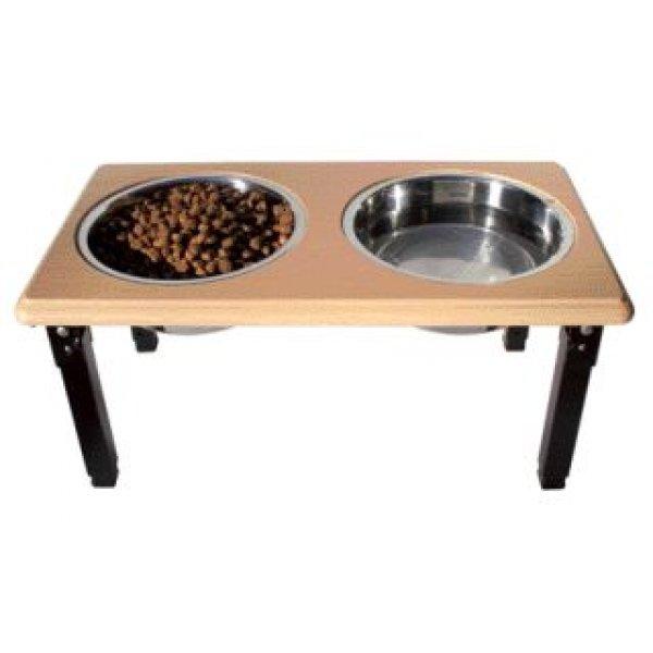 Posture Pro Adjustable Pet Double Diner / Size 3 Quart / Oak