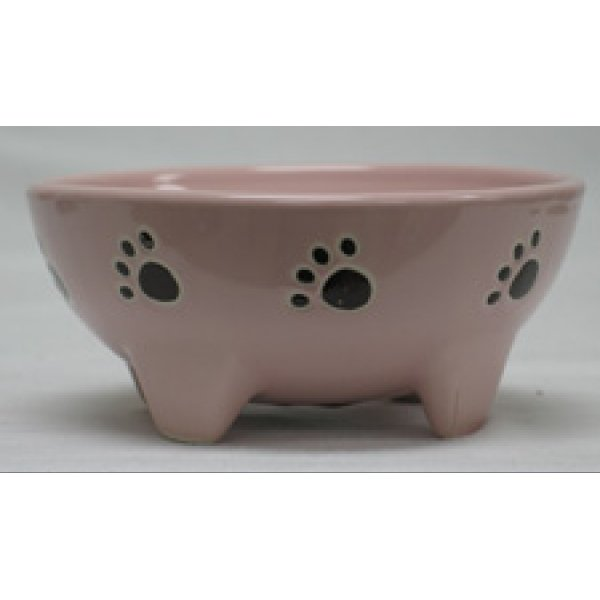 Footed Ceramic Pet Dish / Size (5 in Pink / Dog) Best Price