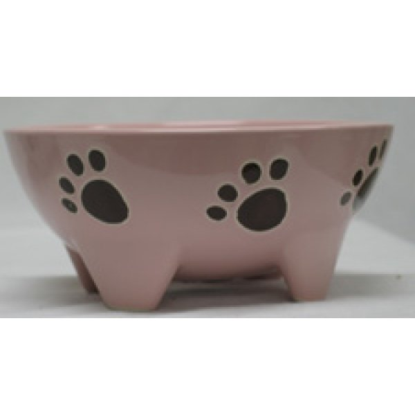 Footed Ceramic Pet Dish / Size (7 in Pink / Dog) Best Price