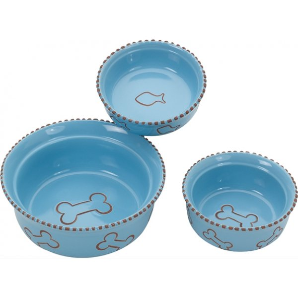 Terra Cotta Cat Dish / Size Blue 5 In.