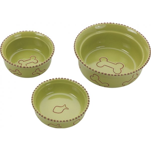 Terra Cotta Dog Dish / Size 5 In / Green