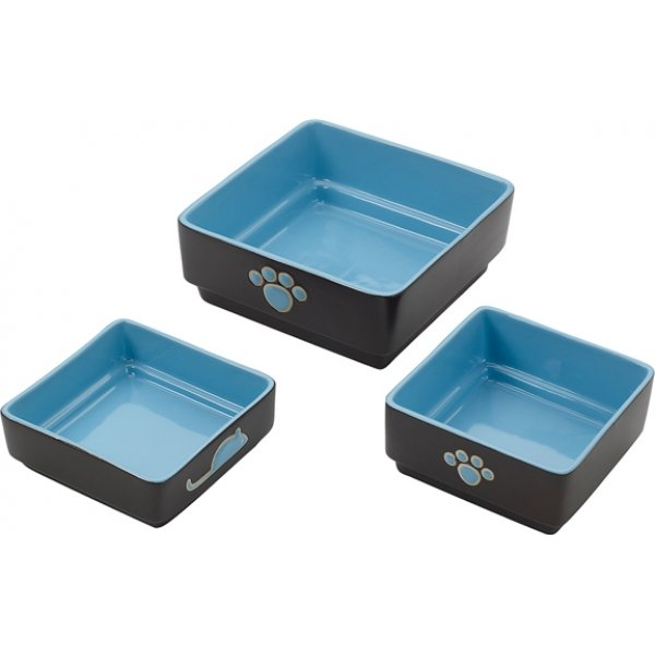 Four Square Cat Dish / Size Blue / 5 In.