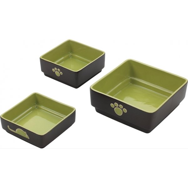Four Square Cat Dish / Size Green / 5 In.