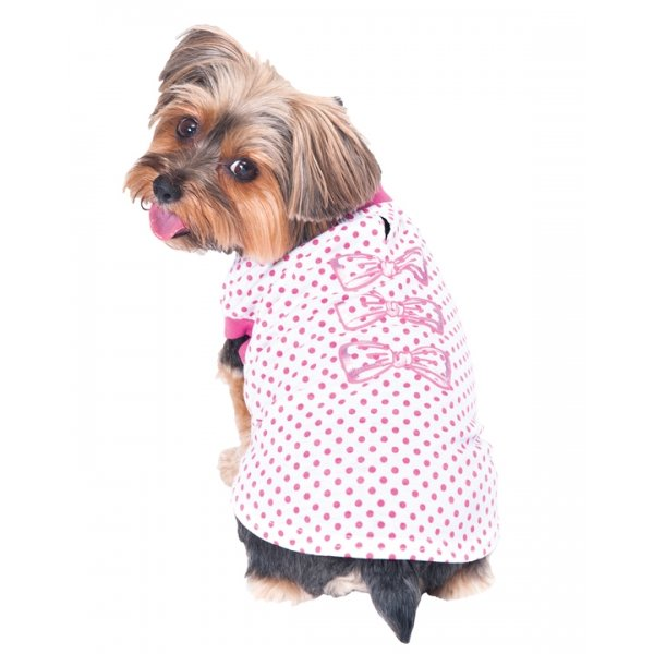 Dot Print w/Bows Dog Tee / Size (X Small) Best Price