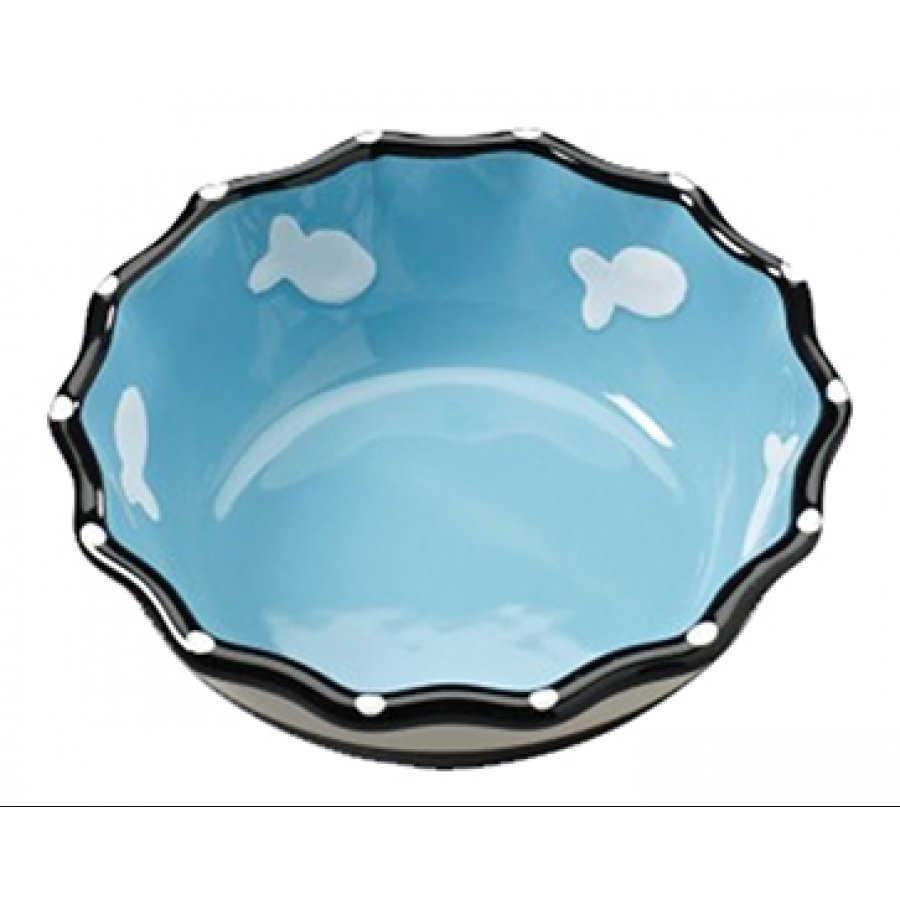 Contemporary Ruffle Pet Dish / Size (Cat / Blue 5 in.) Best Price