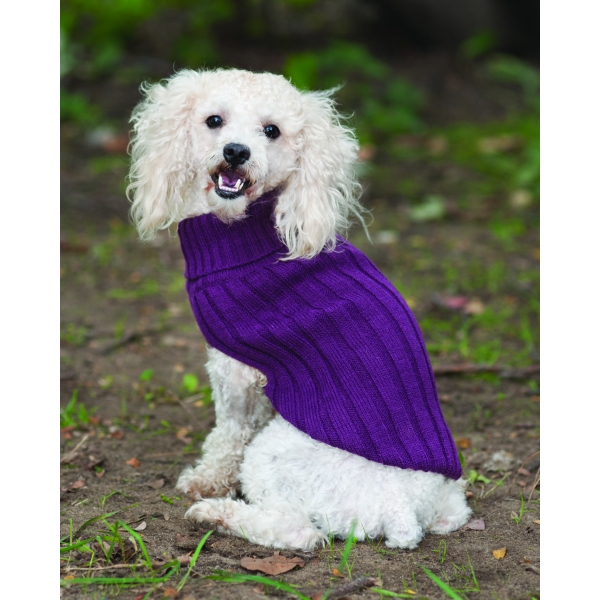 Classic Turtleneck Dog Sweater / Size Medium / Plum