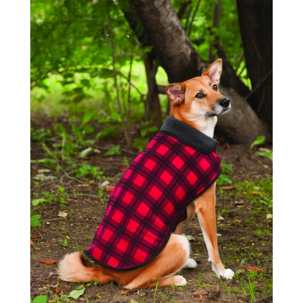 Plaid Fleece Dog Jacket / Size (X-Large / Red)