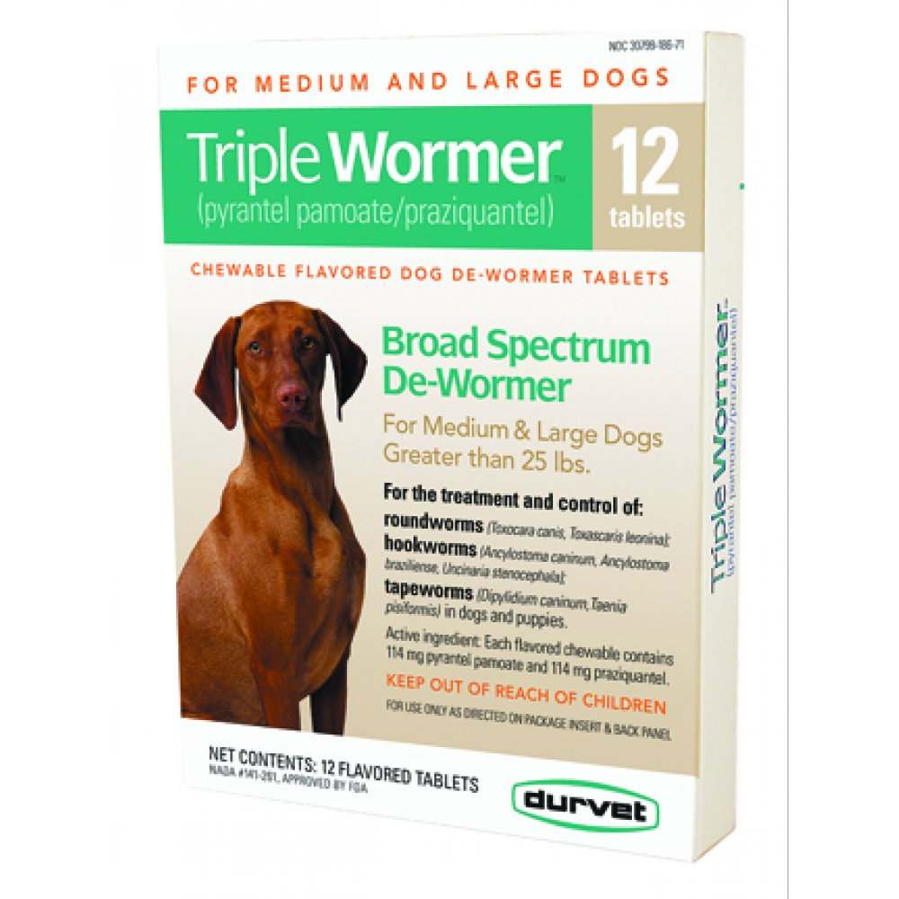 Triple Wormer Broad Spectrum Dewormer For Dogs 12 Ct Over