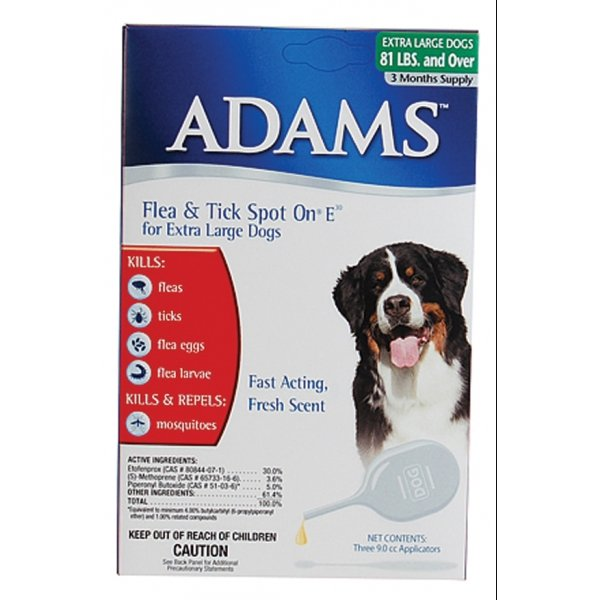 Adams Flea and Tick Spot On For Dogs / Size (over 81 lbs / 3 months) Best Price