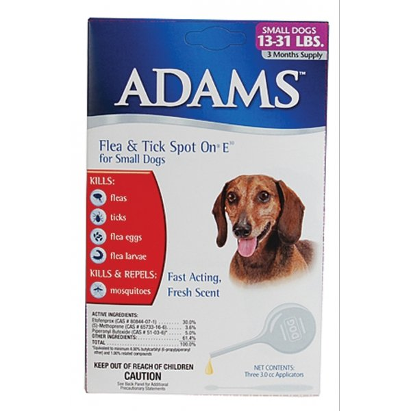 Adams Flea and Tick Spot On For Dogs / Size (13-31 lbs / 3 month) Best Price