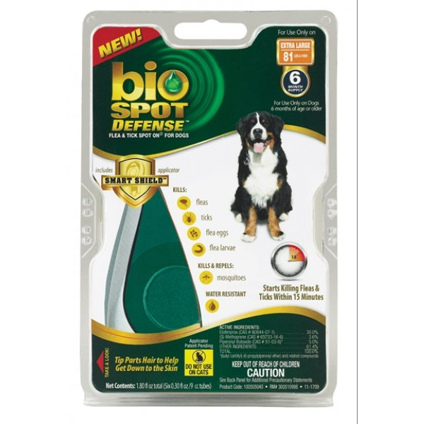 BioSpot Defense Spot On Flea and Tick / Size (Over 80 lbs./6 month) Best Price
