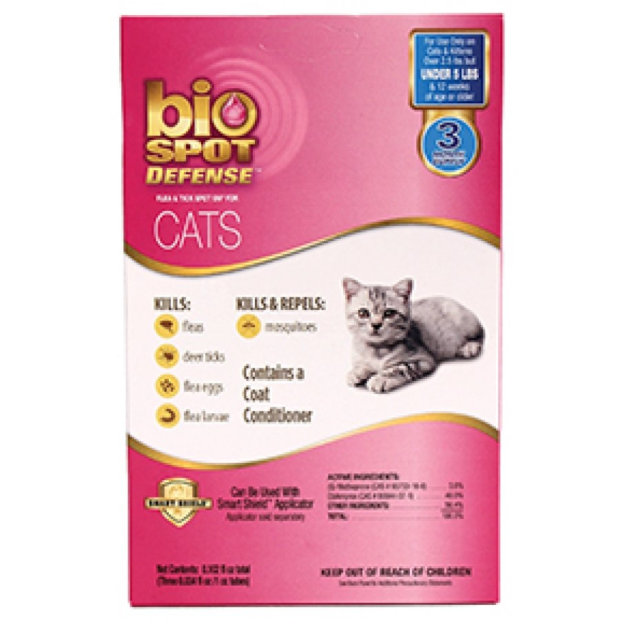 Bio Spot Defense Spot On Refill Flea and Tick for cats - Under 5 lbs / 3 pk. Best Price