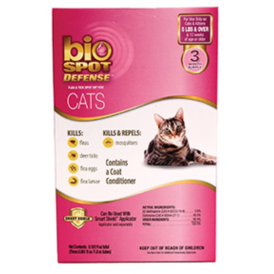 Bio Spot Defense Spot On Refill Flea and Tick for cats - Over 5 lbs / 3 pk. Best Price