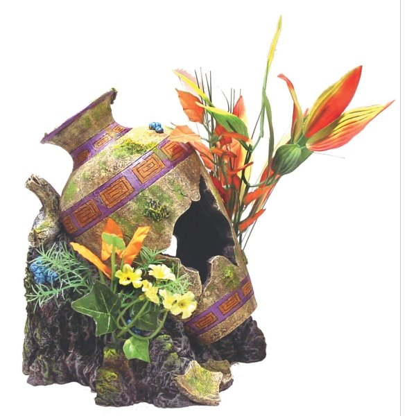 Grecian Urn Floral Aquarium Decoration Best Price