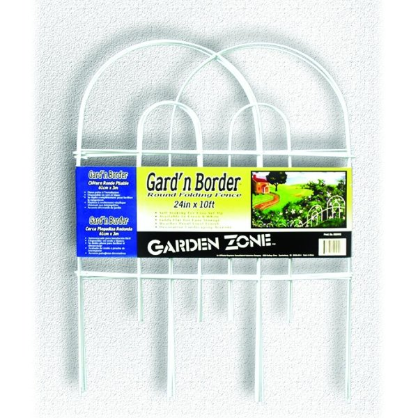 Round Folding Fence Border - 10 ft. by 24 in. / Color (White - 24 in) Best Price