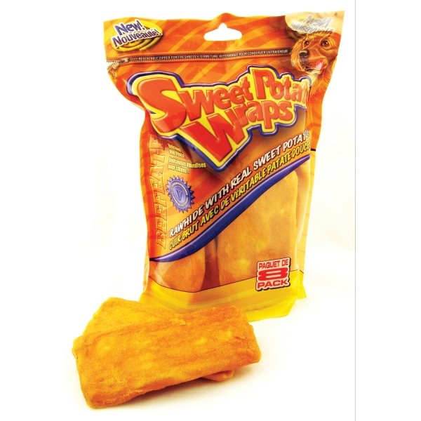 Wrapped Rawhide Chewritto / Size 5 6 In. Sweet Potato / 8 Pk