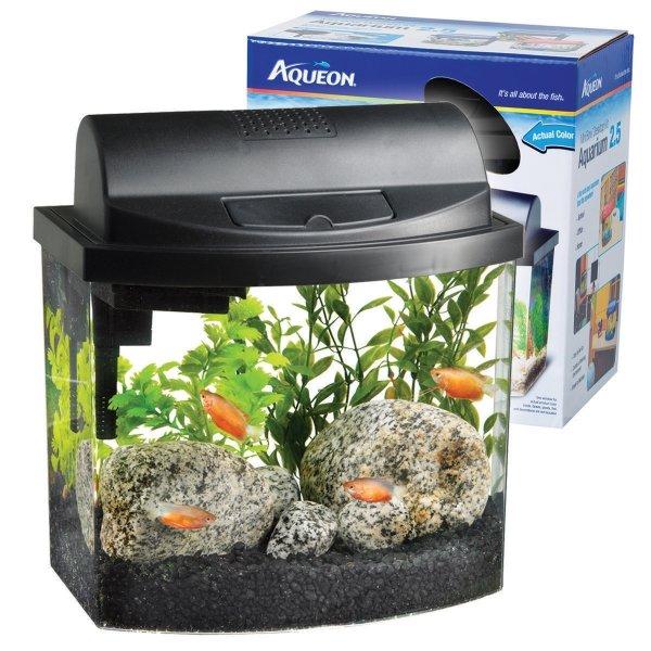 Aqueon Mini Bow Desktop / Size 2.5 Gal / Black