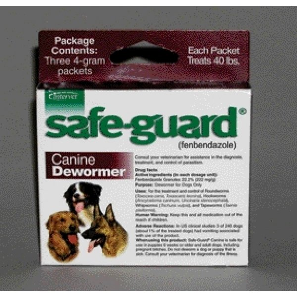 Safe Guard Dog Wormer Fenbendazole Granules / Size 40 Lbs.
