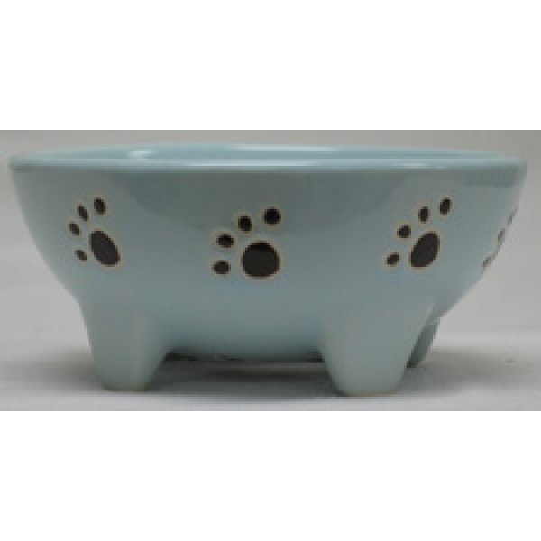 Footed Ceramic Pet Dish / Size (5 in Blue / Dog) Best Price