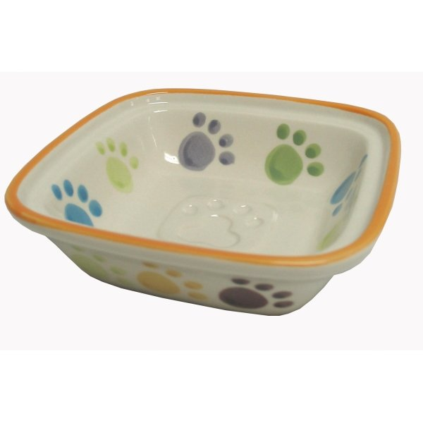 Paw Print Cream Pet Dish / Size (Cat / 5 in)