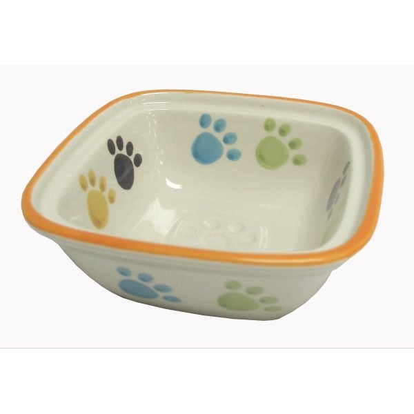 Paw Print Cream Pet Dish / Size (Dog / 5 in) Best Price