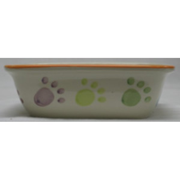Paw Print Cream Pet Dish / Size (Dog / 7 in) Best Price