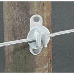 Wood or vinyl post insulator w/ screws white, fits poly wire, poly rope, high tensile wire. Plastic.