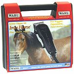 Clip your horse's hair with this durable chrome clipper by Wahl. Clipper has a quiet-running electromagnetic motor that does not heat up. This powerful clipper makes trimming hair easy and quick.