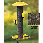 Featuring no/no high-quality metal construction and patented mesh feeding system. Stands 17.5 inches tall, trough base is 8.25 inch across. No assembly needed. Holds about 1.5 pound of black oil sunflower seed. Patented baffles help retain seed along enti