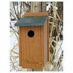 Give your backyard bluebirds a nice home with the Going Green Bluebird House. Easily mounts on any post or tree and is made of recycled plastic lumber that is excellent for the envirionment. Plastic won't absorb water when wet and stays dry and mold free